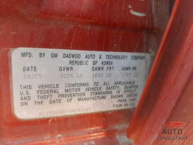 CHEVROLET AVEO 2006 - KL1TD66666B560982