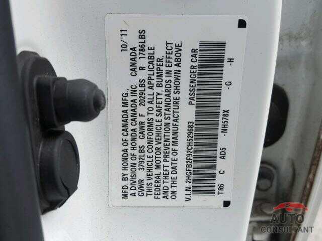 HONDA CIVIC 2012 - KNDMB5C12G6206277