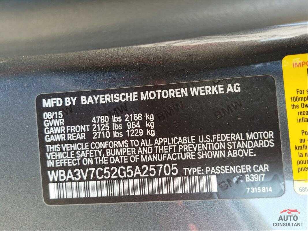 BMW 4 SERIES 2016 - WBA3V7C52G5A25705
