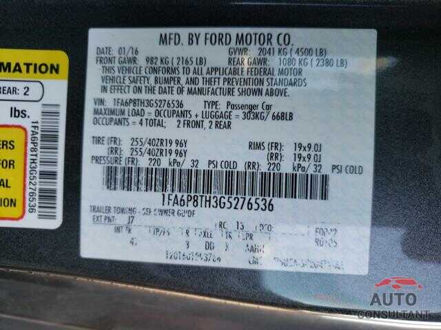 FORD MUSTANG 2016 - 1FA6P8TH3G5276536