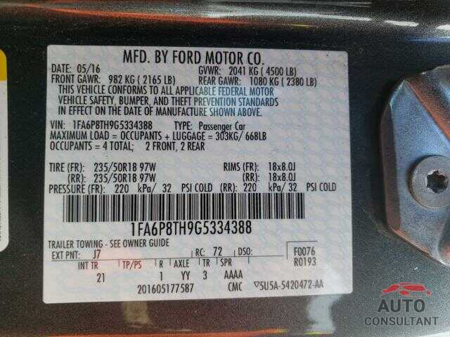 FORD MUSTANG 2016 - 1FA6P8TH9G5334388