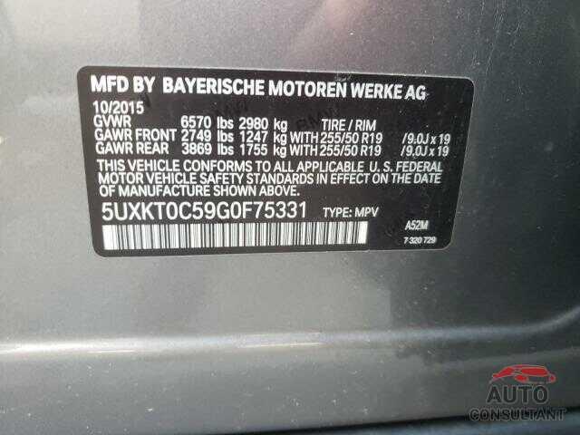 BMW X5 2016 - 5UXKT0C59G0F75331
