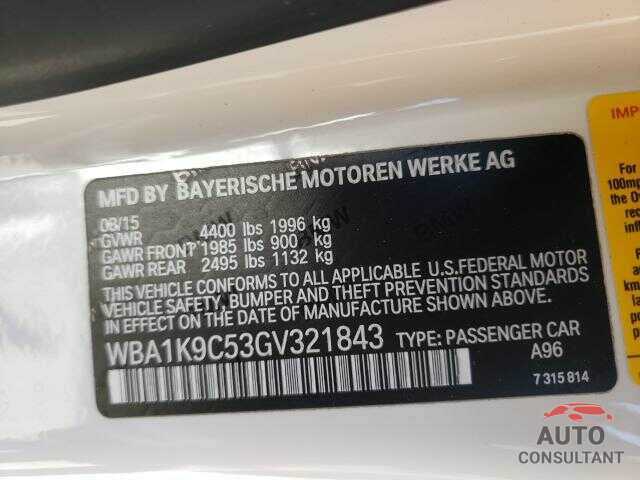 BMW 2 SERIES 2016 - WBA1K9C53GV321843