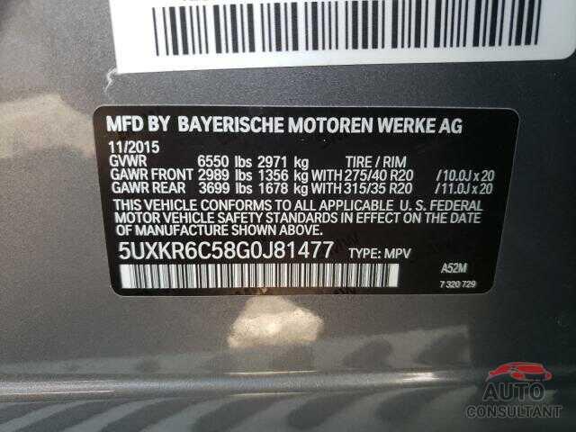 BMW X5 2016 - 5UXKR6C58G0J81477