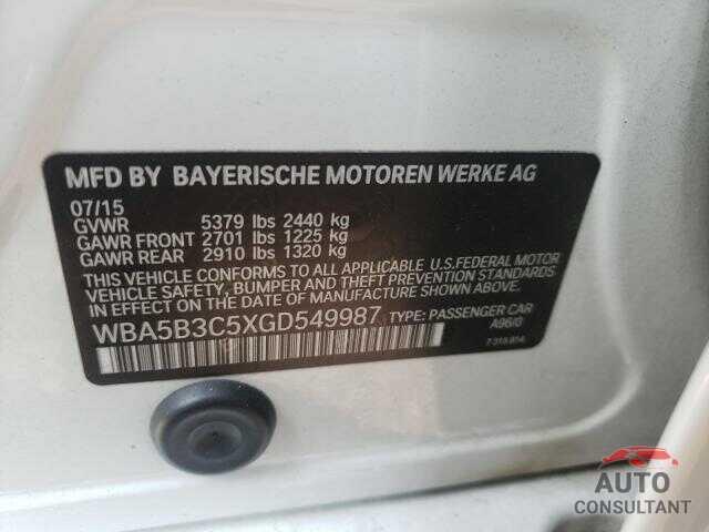 BMW 5 SERIES 2016 - WBA5B3C5XGD549987