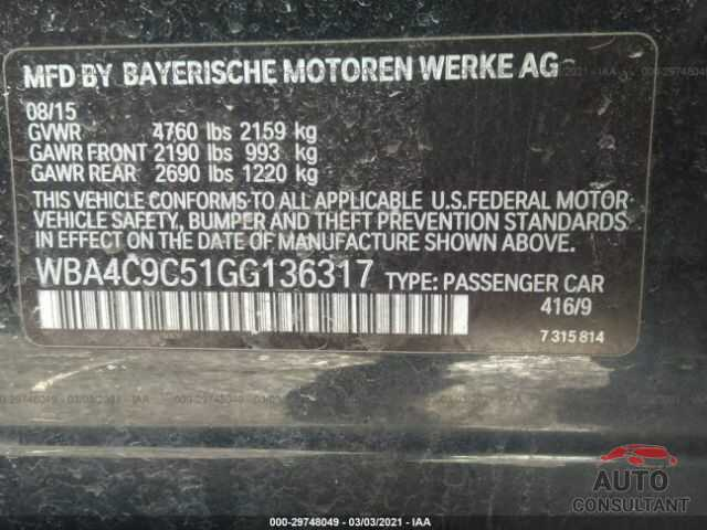 BMW 4 SERIES 2016 - WBA4C9C51GG136317