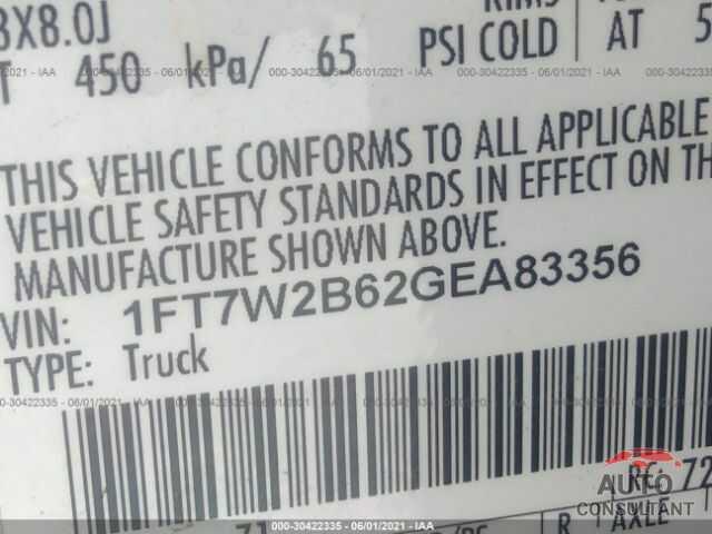 FORD SUPER DUTY F-250 SRW 2016 - 1FT7W2B62GEA83356