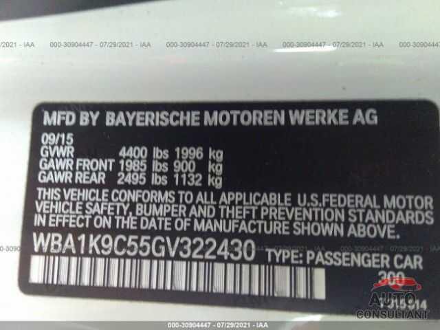 BMW 2 SERIES 2016 - WBA1K9C55GV322430
