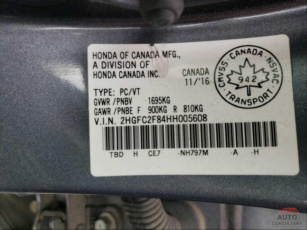 HONDA CIVIC 2017 - 2HGFC2F84HH005608