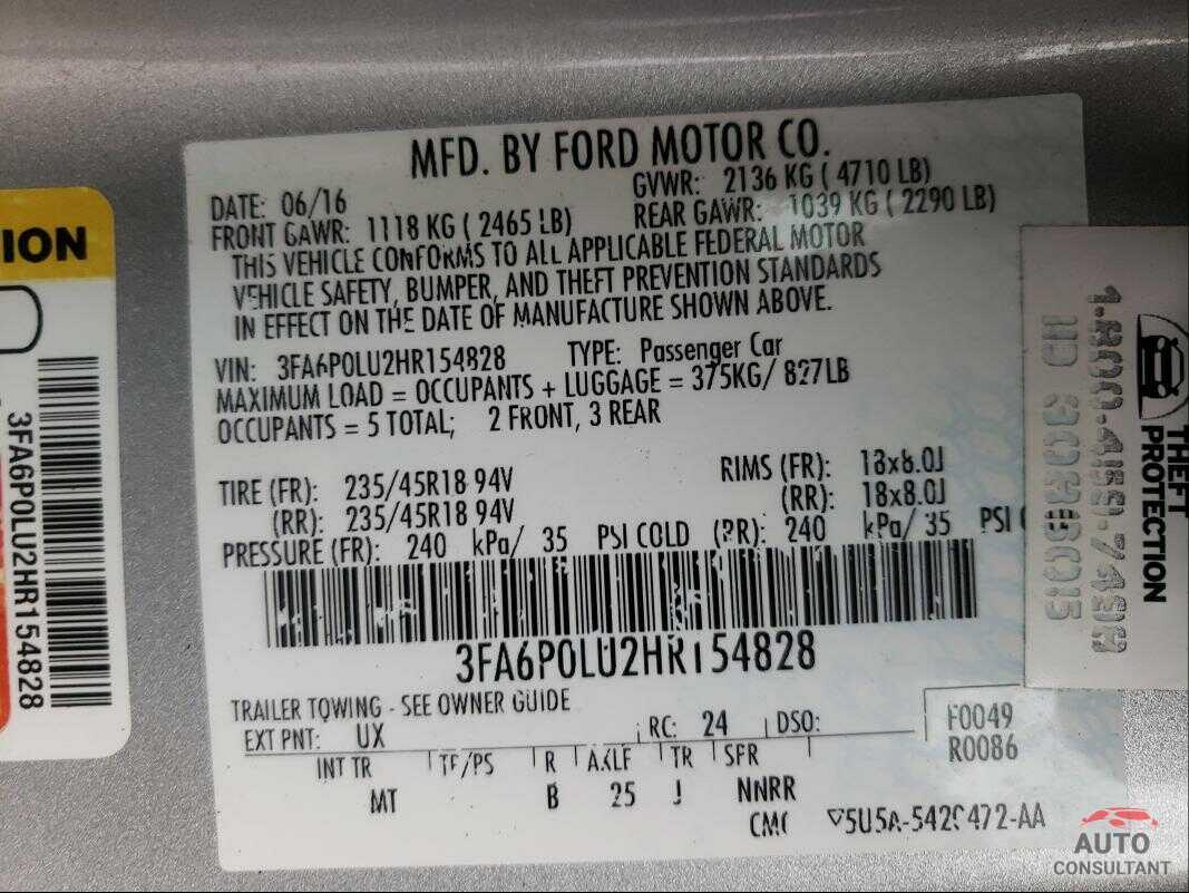 FORD FUSION 2017 - 3FA6P0LU2HR154828