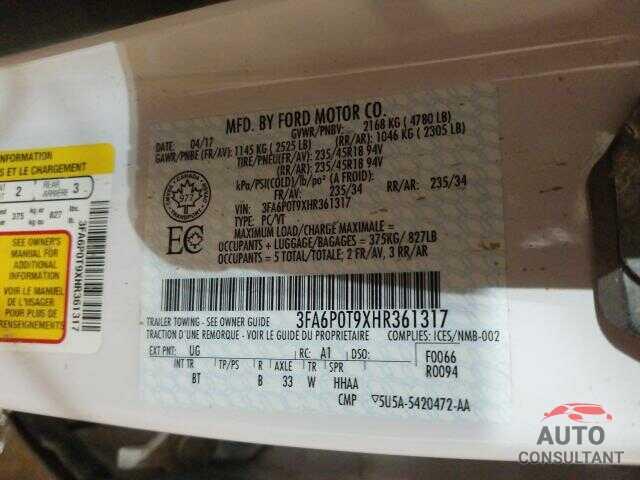 FORD FUSION 2017 - 3FA6P0T9XHR361317