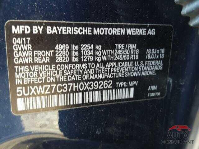BMW X3 2017 - 5UXWZ7C37H0X39262
