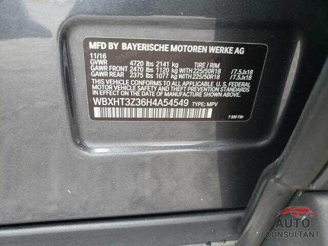 BMW X1 2017 - WBXHT3Z36H4A54549