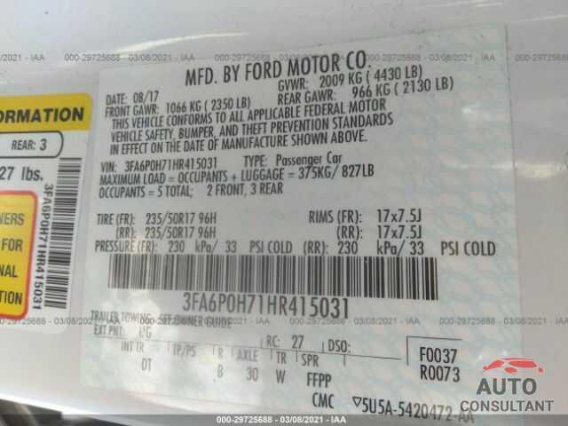 FORD FUSION 2017 - 3FA6P0H71HR415031