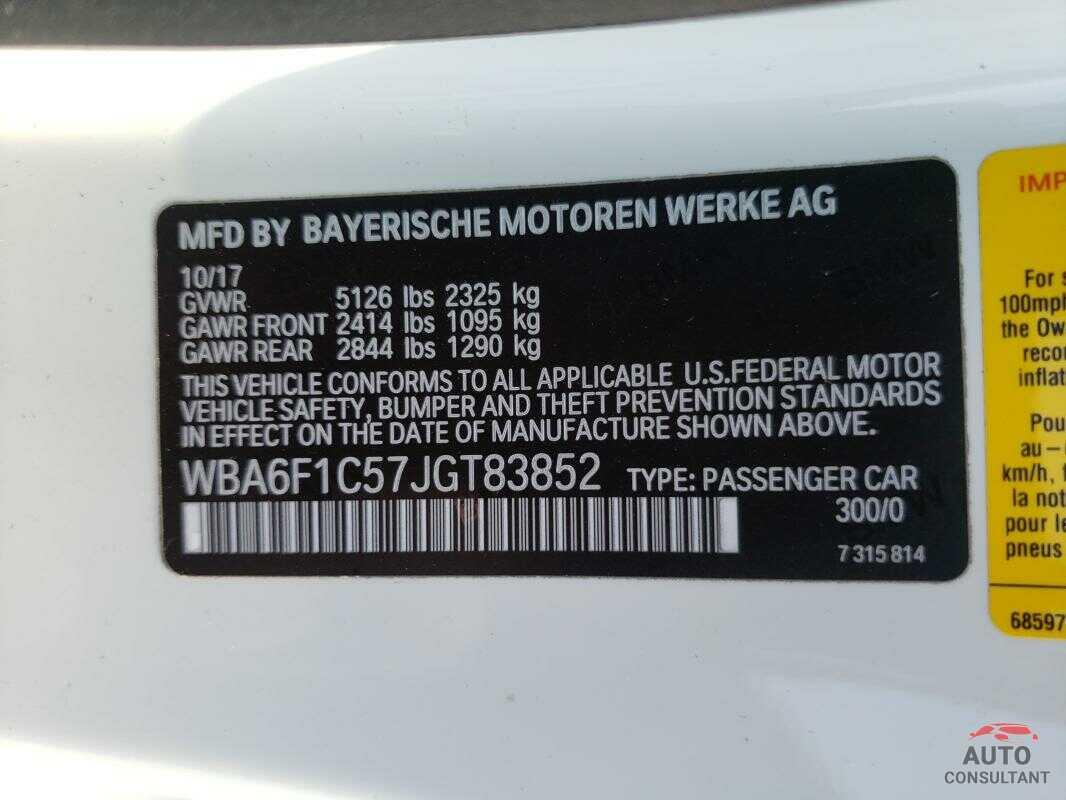 BMW 6 SERIES 2018 - WBA6F1C57JGT83852