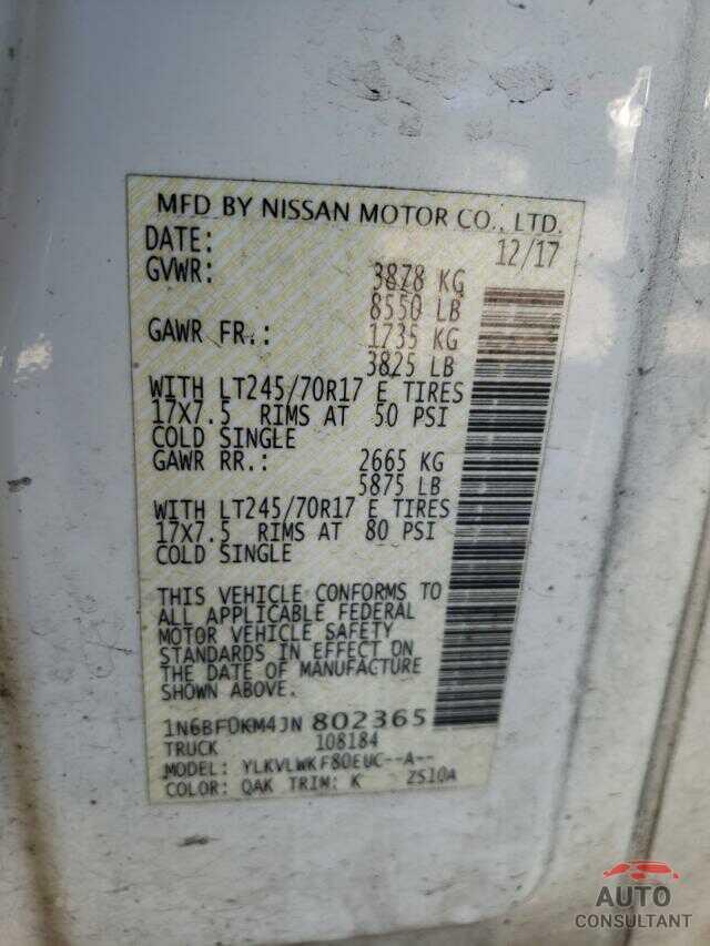 NISSAN NV 2018 - 1N6BF0KM4JN802365