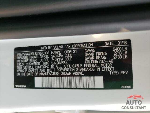 VOLVO XC60 2018 - YV4A22RL8J1076386