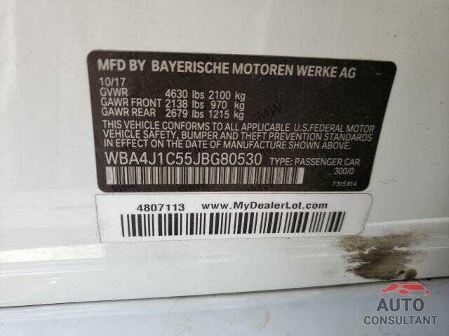 BMW 4 SERIES 2018 - WBA4J1C55JBG80530