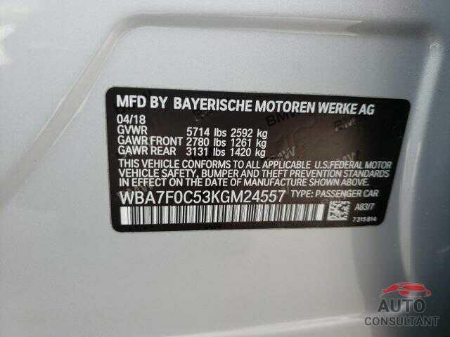 BMW 7 SERIES 2019 - WBA7F0C53KGM24557