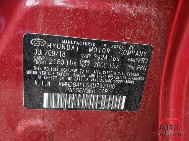 HYUNDAI ELANTRA 2019 - KMHD84LF6KU737180