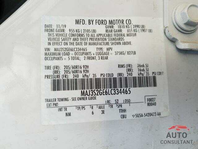 FORD ALL OTHER 2020 - MAJ3S2GE6LC334465