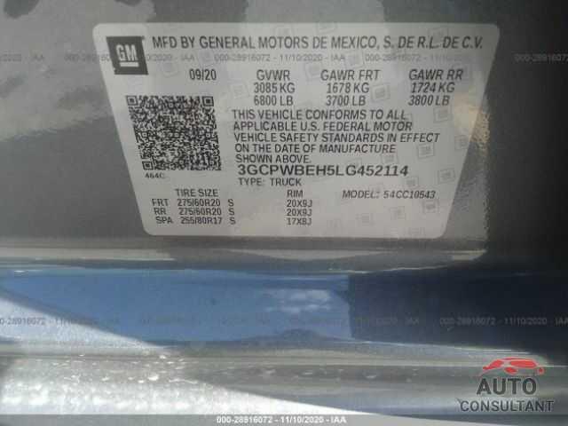 CHEVROLET SILVERADO 1500 2020 - 3GCPWBEH5LG452114