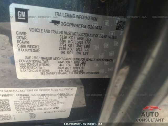CHEVROLET SILVERADO 1500 2020 - 3GCPWBEF5LG201432