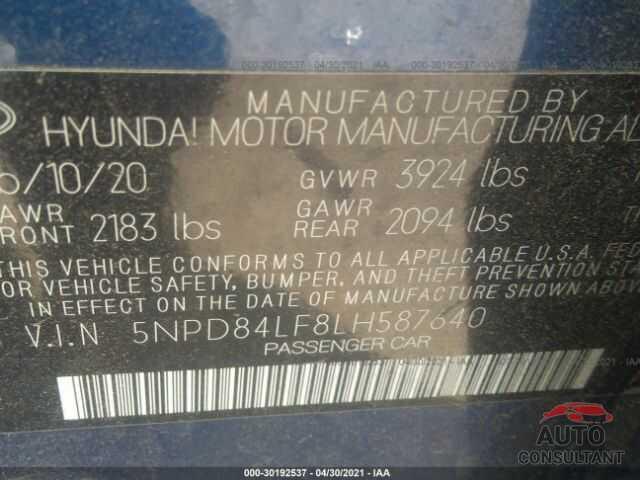 HYUNDAI ELANTRA 2020 - 5NPD84LF8LH587640