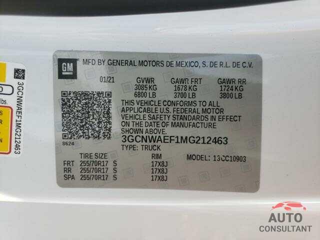CHEVROLET SILVERADO 2021 - 3GCNWAEF1MG212463