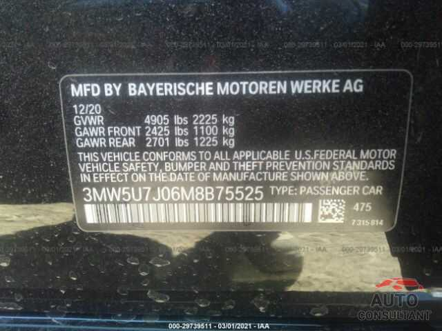 BMW 3 SERIES 2021 - 3MW5U7J06M8B75525