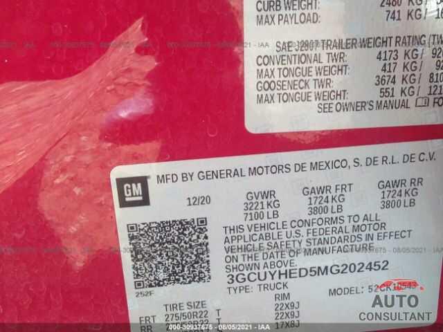 CHEVROLET SILVERADO 1500 2021 - 3GCUYHED5MG202452